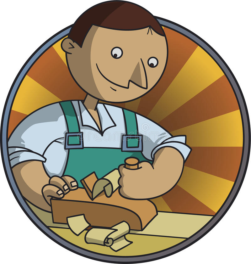 Carpenter makes the piece by the planer vector illustration