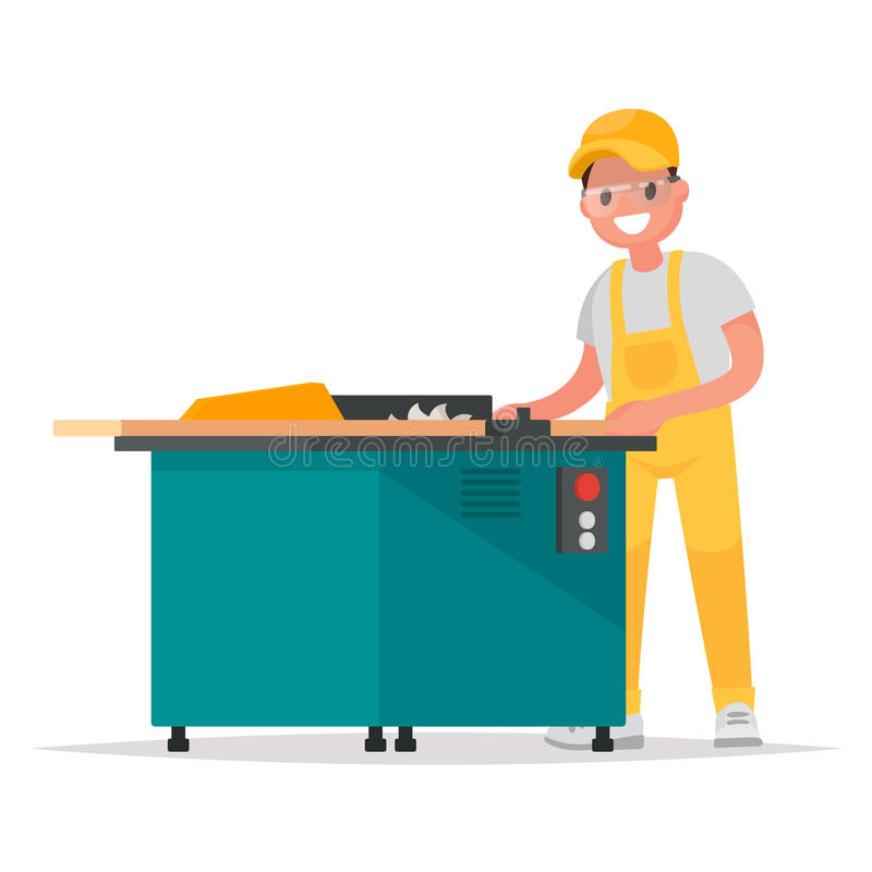 Carpenter makes the product on the woodworking machine. Vector stock illustration