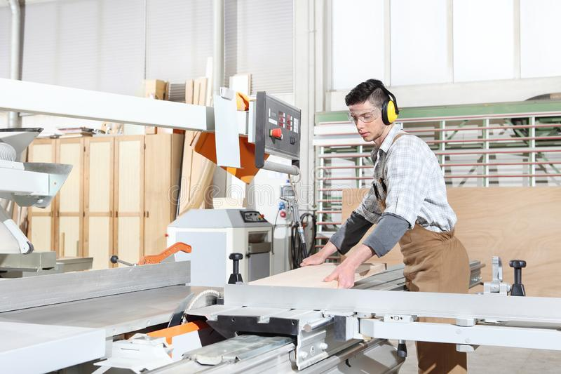 Carpenter man work in the joinery, cut a wooden board with circular saw machine, protected with ear muffs. And glasses royalty free stock image