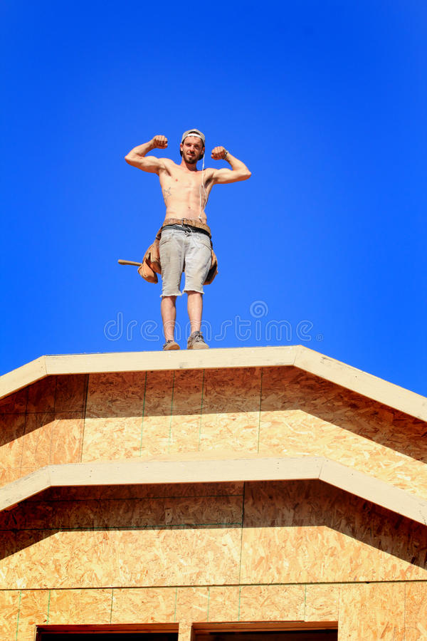 Carpenter with Muscles royalty free stock photos