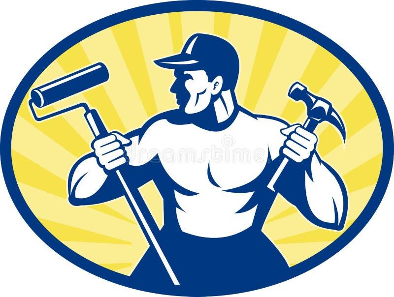 Carpenter painter hammer stock illustration