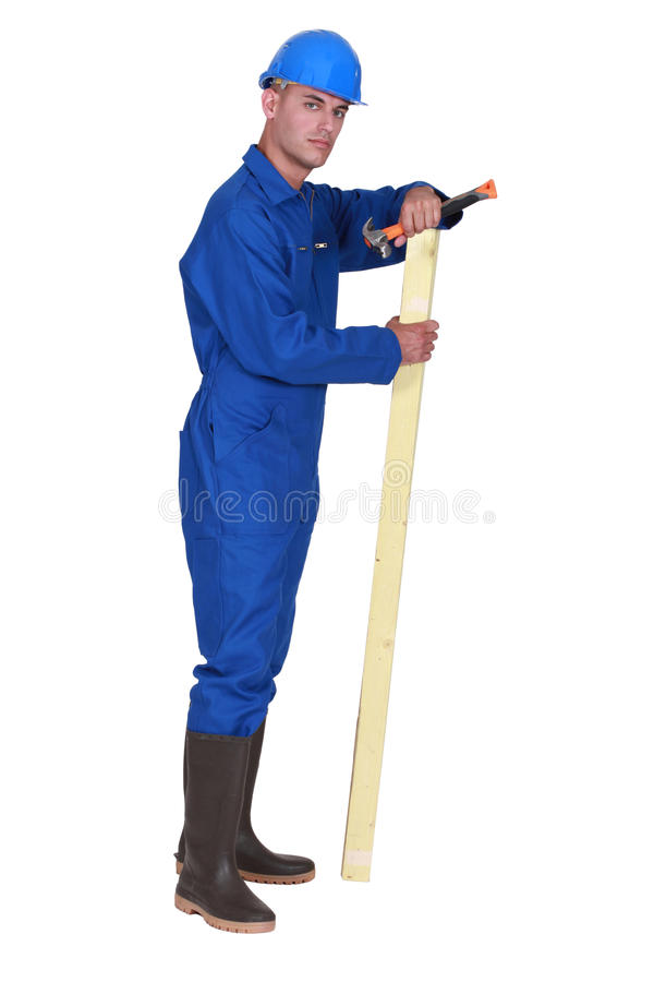 Carpenter with plank royalty free stock image