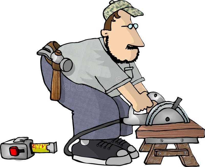 Carpenter with a power saw royalty free illustration