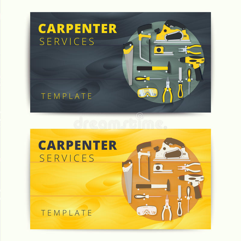 Carpenter or repairman service vector business card design wood carpenter or repairman service vector business card design woodworker or handyman banner background concept with construction tools and equipment reheart Choice Image
