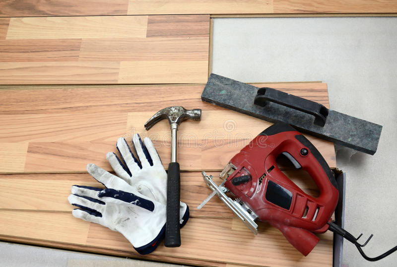 Download Carpenter's floor tools stock image. Image of gloves - 23344905