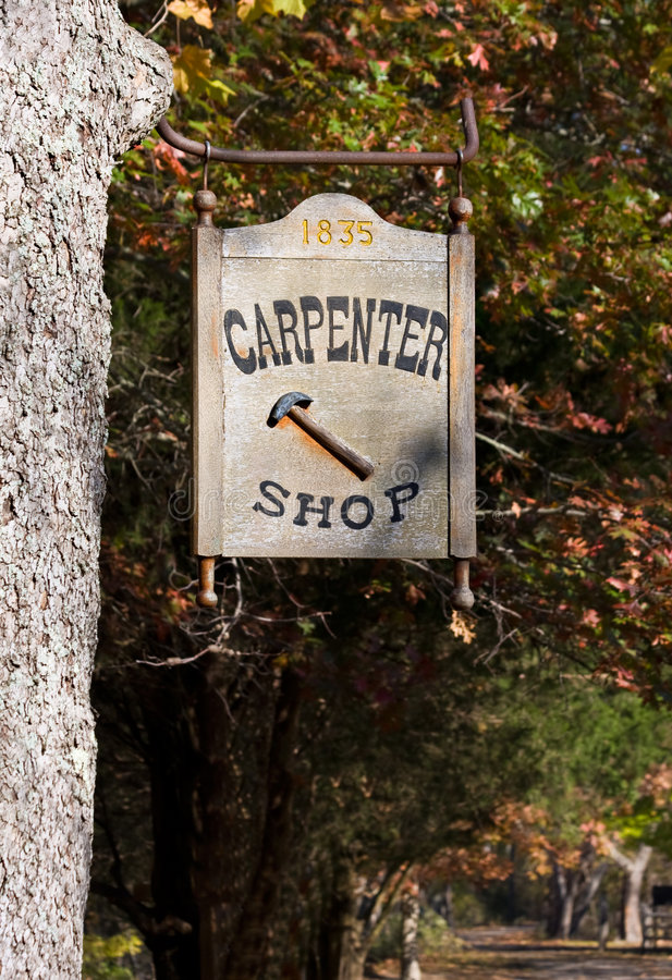 Download Carpenter Shop Sign stock photo. Image of parks, outdoors - 3982980