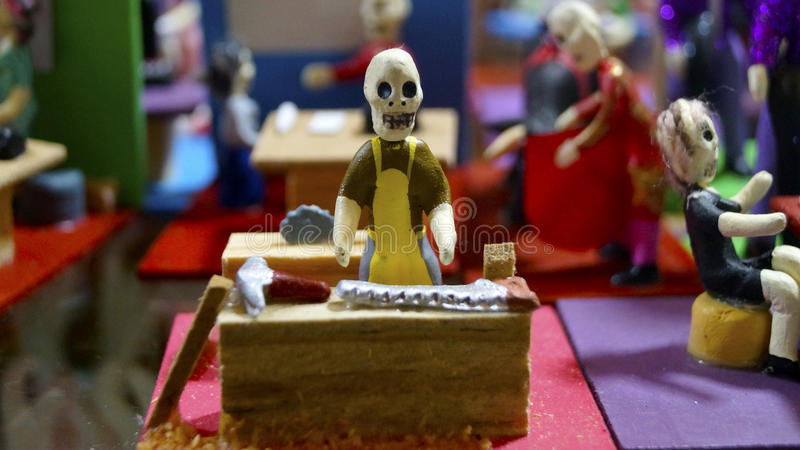 Carpenter skeleton toy decorative item in the day of the dead celebration in mexico royalty free stock photo