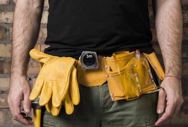 Carpenter tool belt royalty free stock images