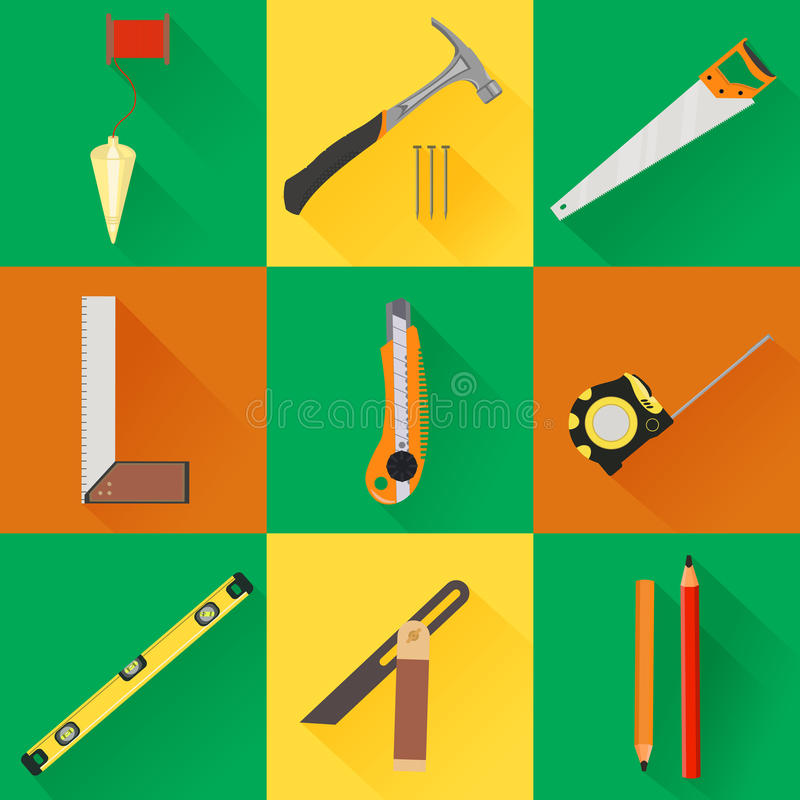 Carpenter Tool flat icons royalty free illustration