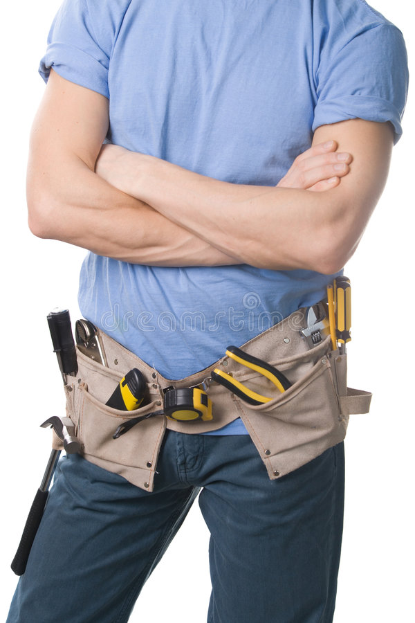 Carpenter with tools stock images