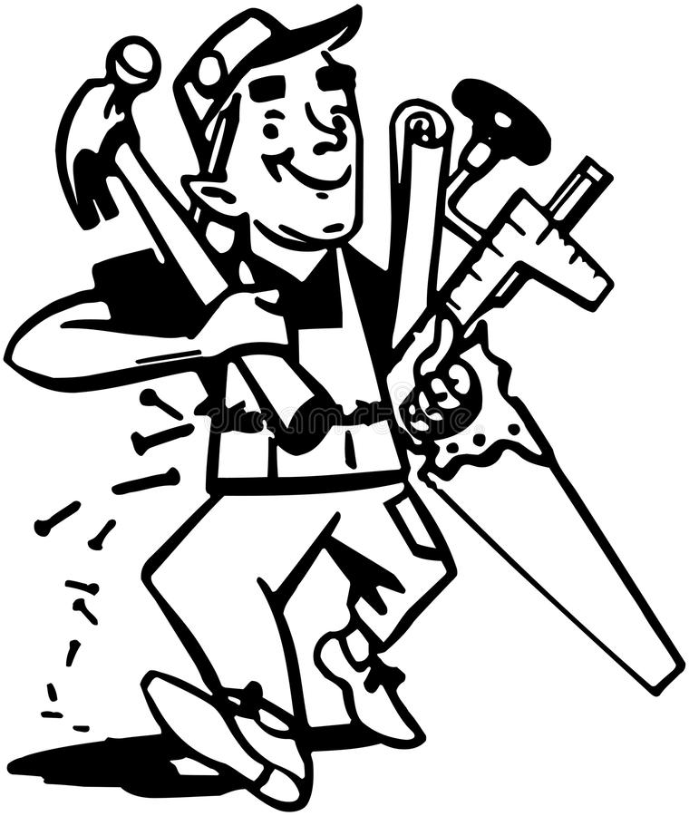 Carpenter With Tools royalty free illustration