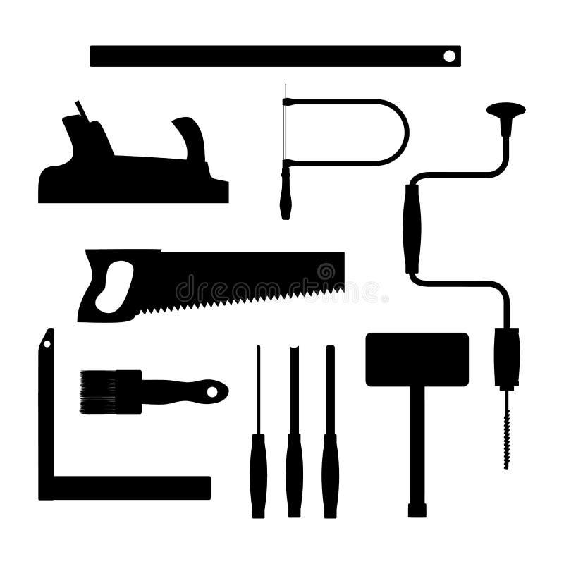 Carpenter Tools. Black Silhouette Vector Illustration ...