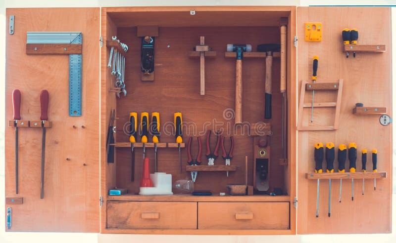 Wood enclosure witg carpenter tools. royalty free stock image