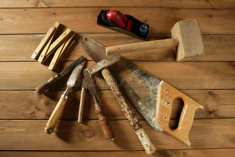 Download Carpenter Tools Saw Hammer Wood Tape Plane Gouge Stock Photo - Image: 13666360