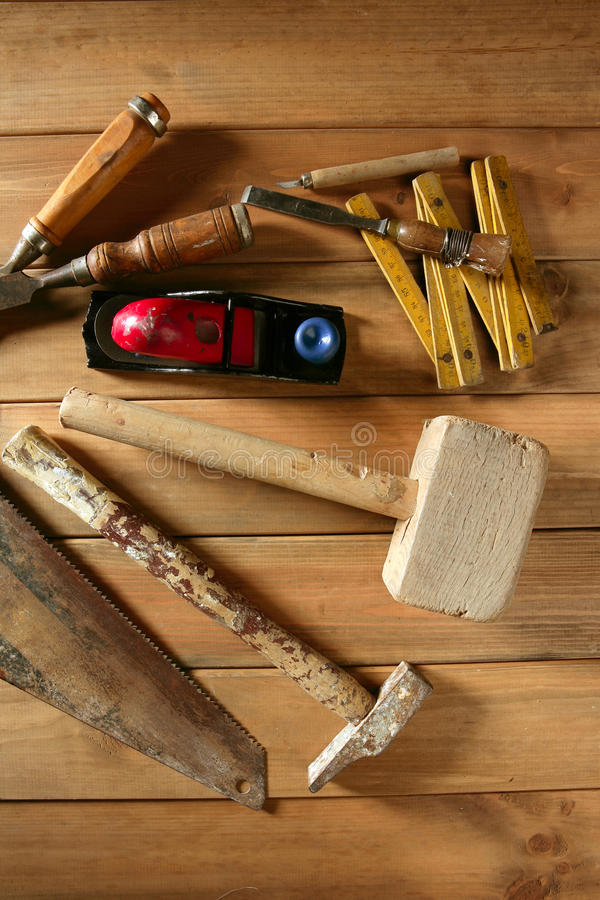 Download Carpenter Tools Saw Hammer Wood Tape Plane Gouge Stock Photo - Image: 14055252