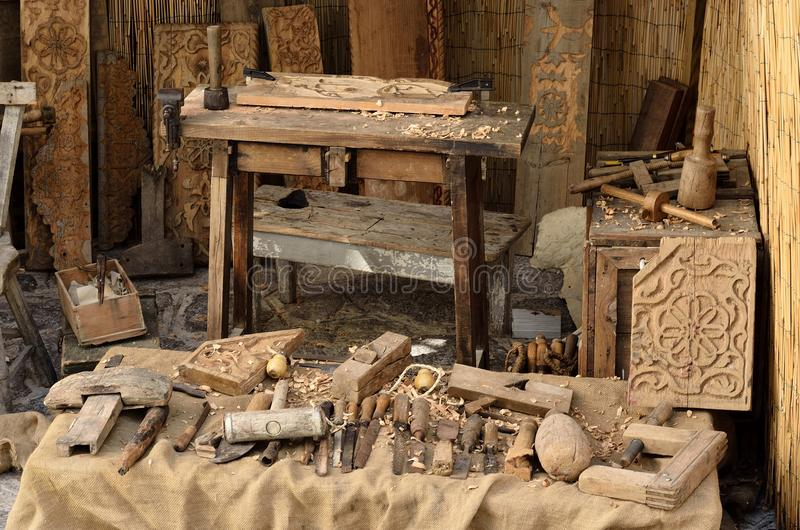The tools. The carpenter tools for wood working and carving royalty free stock photo