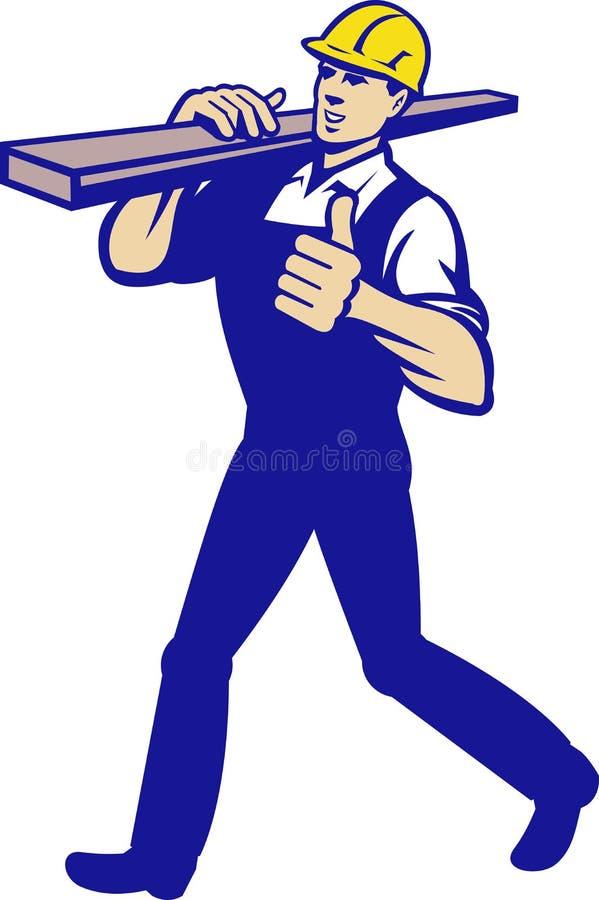 Download Carpenter Tradesman Carrying Timber Lumber Stock Vector - Image: 26586432