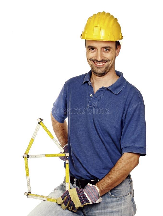 Carpenter on white royalty free stock image