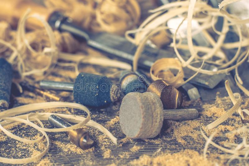 Carpenter wood tool wooden work,  industry sawdust. Carpenter wood tool wooden work carpentry equipment,  industry sawdust royalty free stock photography
