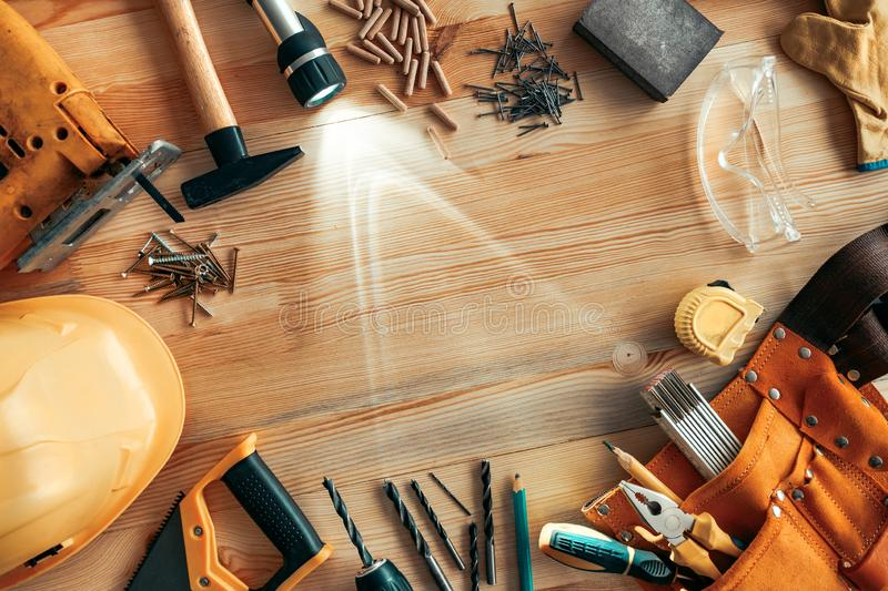 Carpenter woodwork workshop desk top view copy space royalty free stock photo