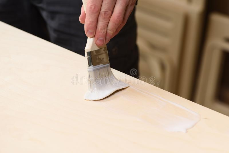 Carpenter at work. Close up of covering wooden surface by paint brush with transparent varnish. Selective focus royalty free stock image
