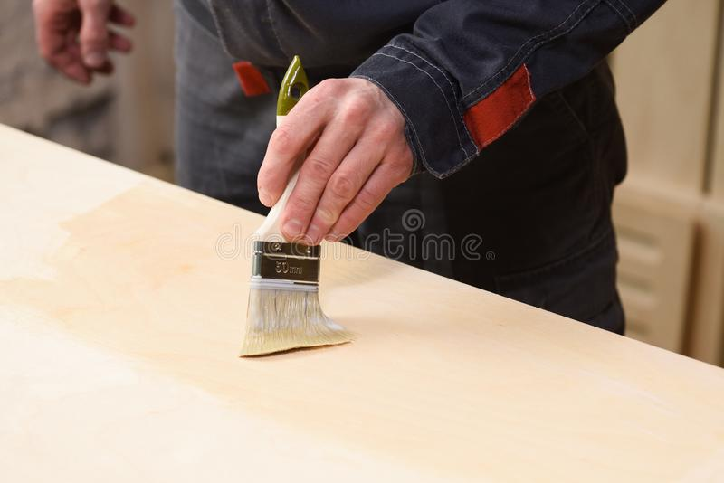 Carpenter at work. Close up of covering wooden surface with varnish. Copyspace stock photos