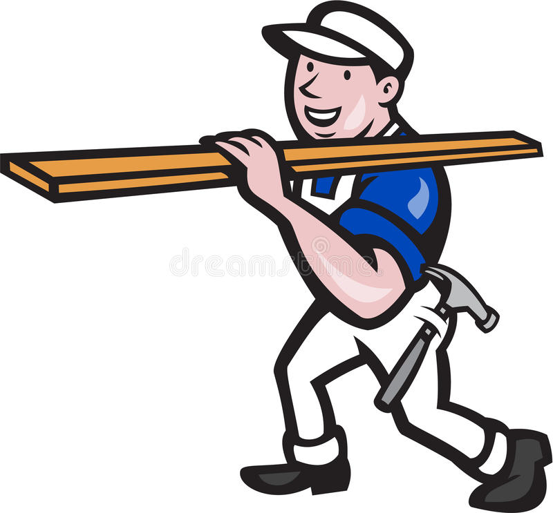 Carpenter Worker Carrying Timber Cartoon. Illustration of a carpenter tradesman construction worker carrying timber lumber wood on shoulder walking on isolated vector illustration