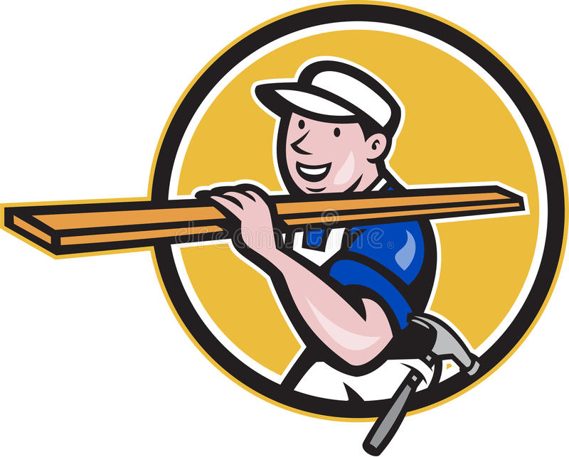 Carpenter Worker Carrying Timber Circle Cartoon. Illustration of a carpenter tradesman construction worker carrying timber lumber wood on shoulder walking set royalty free illustration