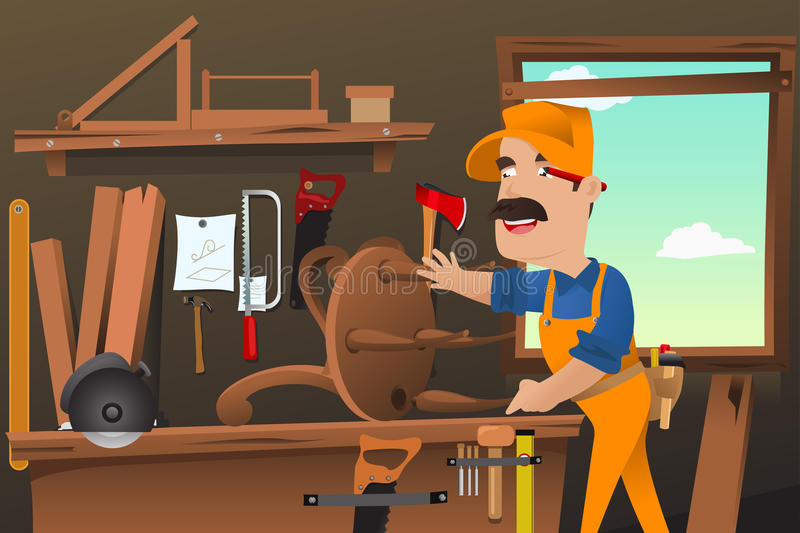Carpenter working making a chair stock illustration