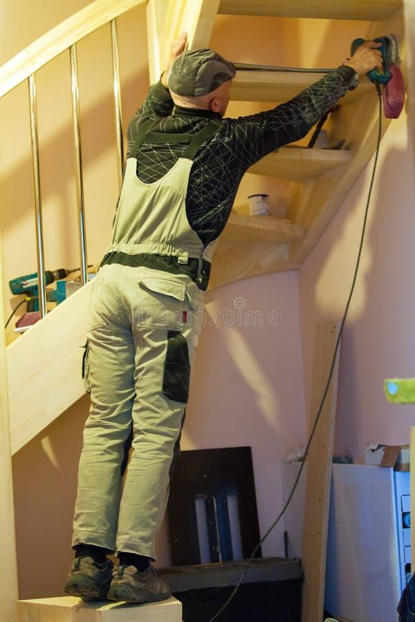 Carpenter Working Polishing Machine stock photo