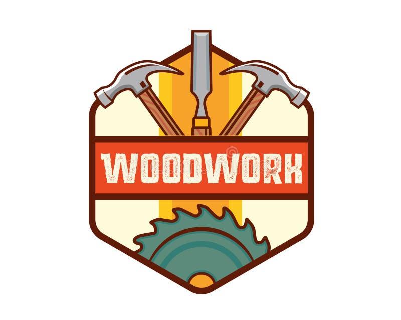 Carpenteria d'annata isolata Logo Badge Emblem Illustration della lavorazione del legno illustrazione vettoriale