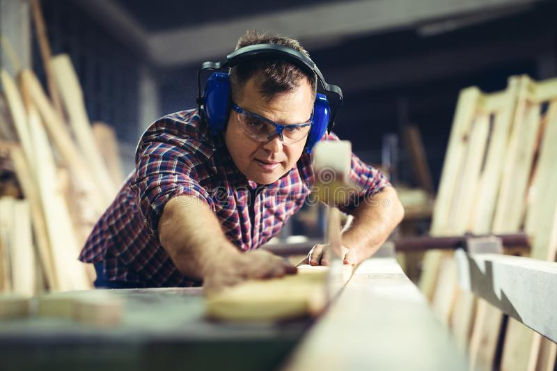 Carpenters cutting wooden plank with a circular saw royalty free stock photo