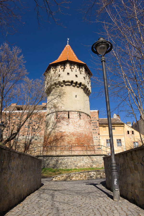 Carpenters tower in old town center of Sibiu stock photos