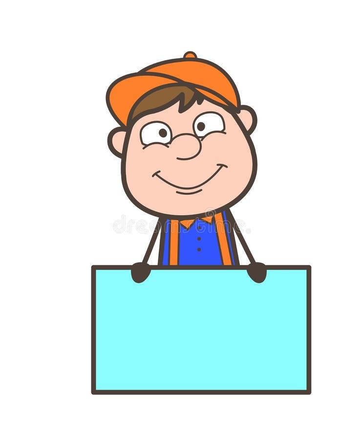 Carpentiere del fumetto con il vettore del bordo dell'annuncio illustrazione di stock