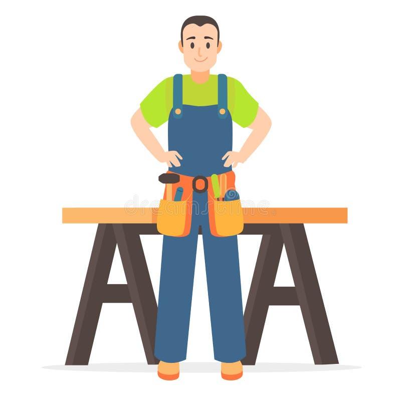 Carpentiere Man della persona del personaggio dei cartoni animati e Tabella Vettore illustrazione di stock