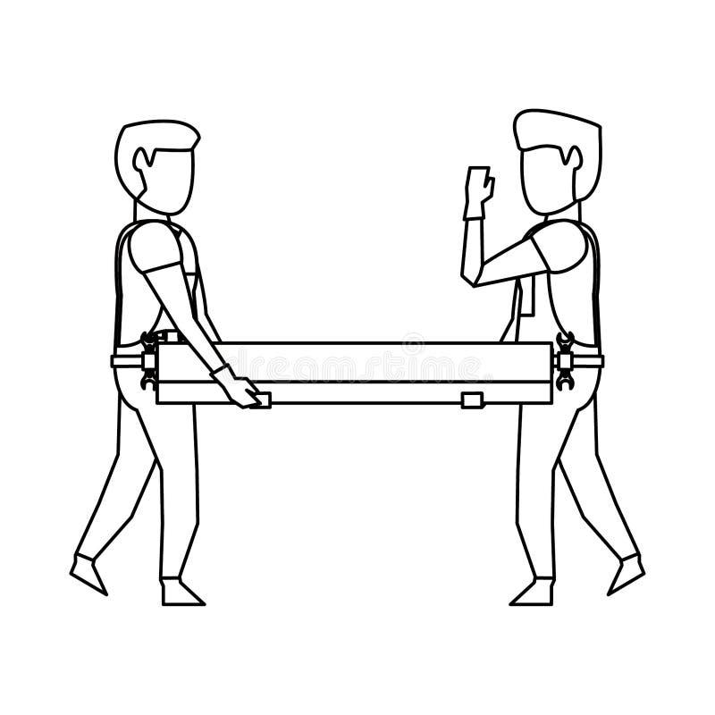 Carpentieri che lavorano con la plancia di legno in bianco e nero illustrazione vettoriale