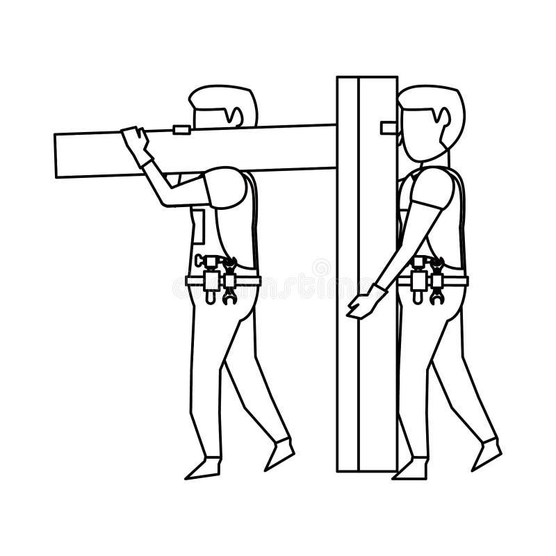 Carpentieri che lavorano con la plancia di legno in bianco e nero royalty illustrazione gratis