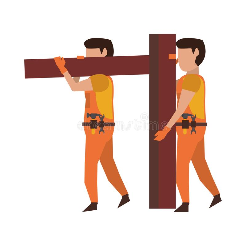 Carpentieri che lavorano con la plancia di legno illustrazione di stock