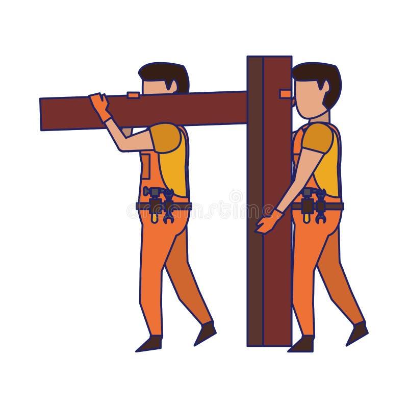 Carpentieri che lavorano con le linee blu di legno della plancia royalty illustrazione gratis
