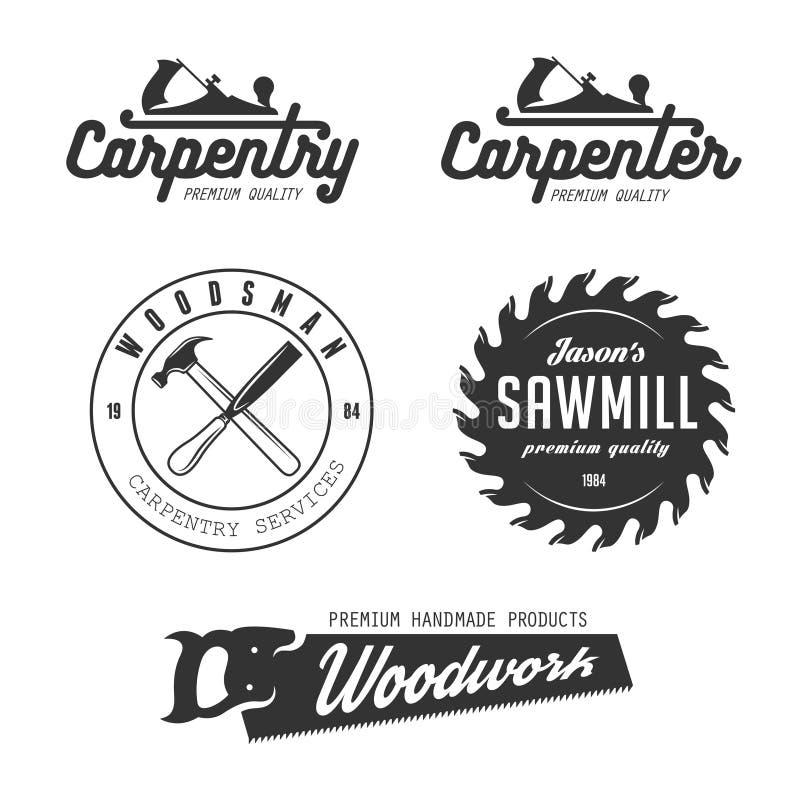 Carpentry emblems, badges, design elements. Carpenter design elements in vintage style for logo, label, badge, t-shirts. Carpentry retro vector illustration vector illustration