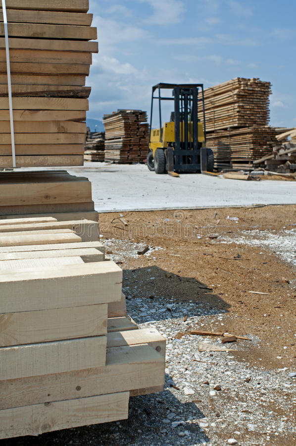 Carpentry Factory And Ordered Timber Stock Image
