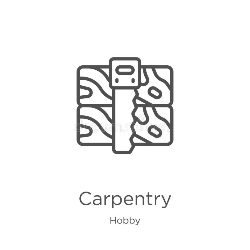 carpentry icon vector from hobby collection. Thin line carpentry outline icon vector illustration. Outline, thin line carpentry stock illustration