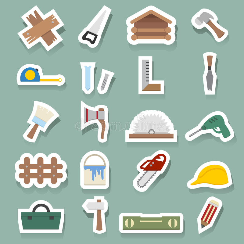 Carpentry icons set vector illustration
