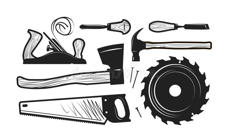 Carpentry, joinery icons. Set of tools such as axe, hacksaw, hammer, planer, disc circular saw, cutters. Vector royalty free illustration