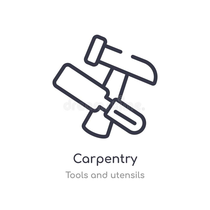 carpentry outline icon. isolated line vector illustration from tools and utensils collection. editable thin stroke carpentry icon royalty free illustration