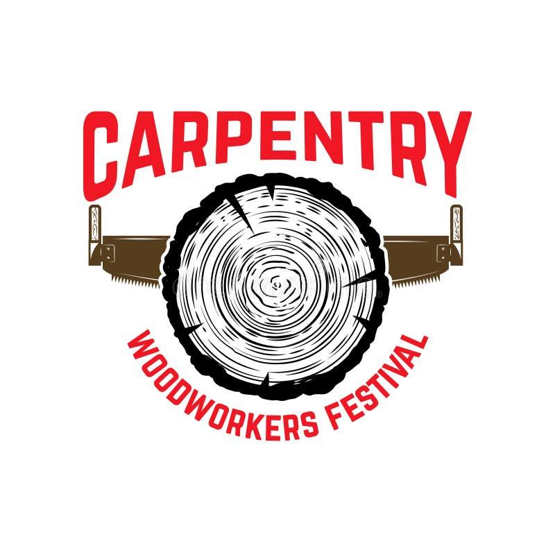 carpentry Simbolize o molde com madeira do corte e serra da mão Projete o elemento para o logotipo, etiqueta, emblema, sinal ilustração royalty free