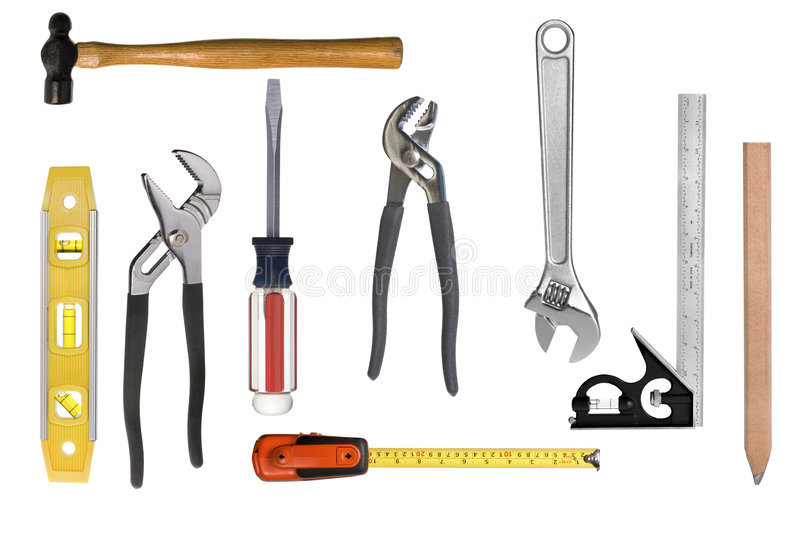 Carpentry tool montage. An assortment of full resolution carpentry tools isolated on white. Easy to select individual tools for singular use royalty free stock photo