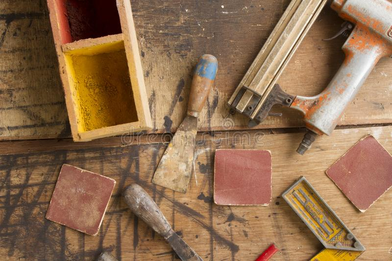 Carpentry tools on wood table top view stock photos
