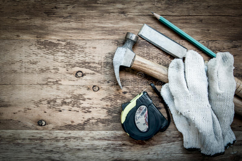 Carpentry tools on the wooden table.  royalty free stock image