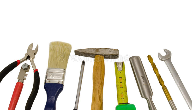 Download Carpentry Work Tools On White Stock Photo - Image: 27342188